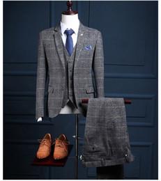 Large Lapel Suits Australia - custom made! New gray large plaid TR blend fabric exquisite slim men's suit three-piece hand-cut (coat + pants + Ves)