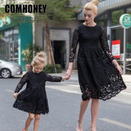 $enCountryForm.capitalKeyWord Canada - Mother and Daughter Dress 2017 New Autumn Lace Hollow Princess Dress Family Look Matching Clothes Mom Baby Outfits Mother & Kids