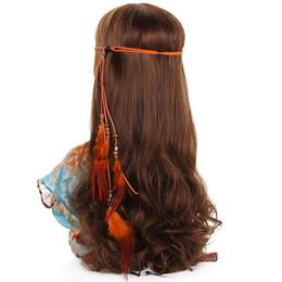$enCountryForm.capitalKeyWord UK - Korean Velvet Indian Feather Headband Feather Hair Band Hairbands for Women Girls Halloween Hair Accessories