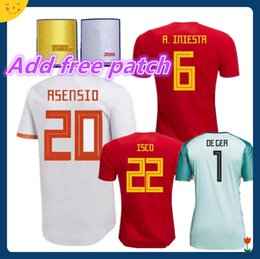 db04ca10c 2018 Spain Jersey home Away Soccer Jersey 2018 world cup Spain home soccer  shirt 2018 ASENSIO MORATA ISCO A.INIESTA Football uniforms sales