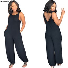 23c15cd831 Maoxzon Women s Sexy Strap Loose Jumpsuits Rompers Black Summer Sleeveless  Backless Suspenders One Piece Pants XXL For Female