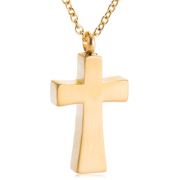 Memorial Pendants For Ashes Australia - Cremation Urn Necklace Golden Glossy Cross Keepsake Jewelry for Ashes Memorial Ash Locket Pendant funeral Sympathy gift