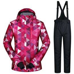 pink suit jacket women UK - High Quality Women Skiing Jackets and Pants Snowboard Sets Thick Warm Waterproof Windproof Winter Female Ski Suit