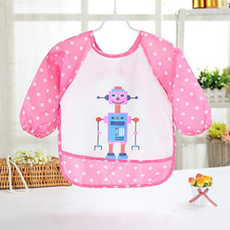 pink aprons wholesale Australia - Kid Draw Clothing Infant Waterproof Meal Robot Pattern Baby Rice Apron Feeding Saliva Lunch Burp Cloths Infant Apron
