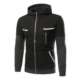 Zipper Sweatshirt Hood NZ - 2017 Men And Men Fall And Winter New Men Korean version Hit Color Zipper Hood Slim Big Pocket Sweatshirt