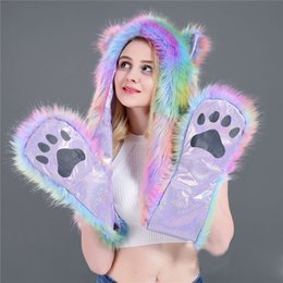 Faux Fur Scarf Hood Australia - Warm Faux Fur Scarf Colorful Striped Patchwork Scarf Winter Cotton Full Animal Hood Hoodie Hat Faux Fur 3 In 1 Function Paw Mittens Gloves