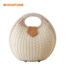 $enCountryForm.capitalKeyWord Australia - WOODFONE Women Straw Bag Fashion Round Rattan Bag Handmade Female Travel Casual Hand Summer Holiday Beach Clutch Handbag