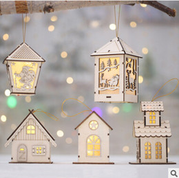 Discount small house cartoon - Christmas Luminous Cabins Hanging Ornament Xmas Light Small Wood House Pendant For New Tear Christmas Decorations