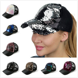 1b39a1bcbf4 Ponytail Caps Canada - New Cool Women Ponytail Baseball Cap Sequins Shiny Messy  Bun Snapback Hats