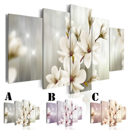 $enCountryForm.capitalKeyWord NZ - Wall Art Picture Printed Oil Painting on Canvas No Frame 5pcs set Home Decor Extra Mirror Border Bloom Magnolia Flower