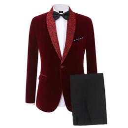 Great standards online shopping - Dark Red Velvet Groom Tuxedos Shawl Lape Center Vent Men Wedding Suit Great Quality Men Formal Business Prom Dinner Blazer Jacket Pants Tie