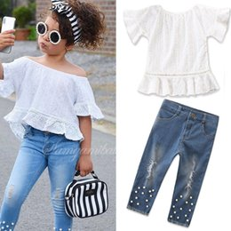 Discount kid lace short pants - Baby girls autumn new outfits lace short sleeve T-shirt blouse shirt+denim jeans pants with pearl children girl's b