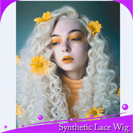 $enCountryForm.capitalKeyWord NZ - MHAZEL long kinky curly #60 white blonde synthetic front lace wig heat resistant fiber free part