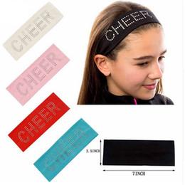 Vente en gros 2.5 pouce large tissu bandeau pour enfants fille imprimer strass CHEER Stretch bande de cheveux Casual Turban Accessoires