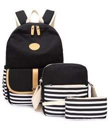 Multi Function Handbag Backpack NZ - New fashion casual women's multi-function three-piece letter backpack soft face handbag luxury brand design canvas student backpack