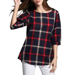 $enCountryForm.capitalKeyWord Canada - New Women Sleeveless Summer Tops Plus Size Fashion O-neck Causal Pure T-Shirt Plaid Printed Cotton and Linen Blend T-Shirt 8802