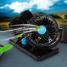 Discount double fan 12v - Car Mini Electric Fan 2 Head Double heads 360 Degree Rotating Low Noise Summer Conditioner Portable Adjustable Car Fan A
