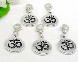 $enCountryForm.capitalKeyWord Australia - 100Pcs alloy Yoga OM Charms lobster Clasp Dangle Charms For Jewelry Making findings 32x15mm