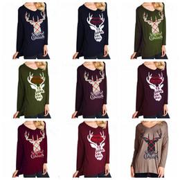d72131064 36Styles Merry Christmas Women Shirt Elk T - shirt Circular Collar Long  Sleeves Letters Printing T- shirt Xmas party top sport tee FFA1202