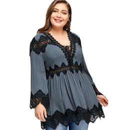 7dc599623ea28f Plus Size V Neck Long Sleeve Lace Panel Peplum Blouse Womens Tops And  Blouses 2018 Fashion Casual Women Blouse Blusas