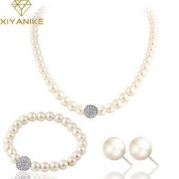 Bracelet Fashion Accessories Tungsten Canada - XIYA 2017 Fashion Bridal Jewelry Sets Simulated Pearl Wedding Earrings Crystal Necklace Party Beads Bracelet Accessories N49