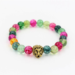 lion charms gold UK - Wholesale Antique Gold Silver Plated Leo Lion Head Charm Bracelet Colorful Glass Beaded Bracelet For Men Women Pulseras Hombre
