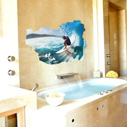 Large Pictures For Walls Australia - Wholesale 3d Surfing Pic Wall Sticker Wallpaper Wall Picture Art Vintage Room Home Decor Kitchen Accessories Household Craft Suppllies