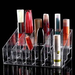 Discount makeup stands - Wholesale- 1pcs 24 Trapezoid Clear Makeup Cosmetic Organizer Storage Lipstick Holder Case Stand Drop Shipping Wholesale
