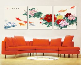 $enCountryForm.capitalKeyWord UK - Free shipping 3 piece canvas wall art Koi fish wall art Paintings for living room Painting canvas Peony wall painting