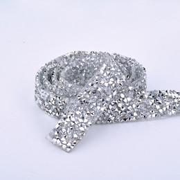 Chain Trim Yard Australia - JUNAO 5 Yard*15mm Clear White Rhinestone Chain Trim Resin Crystal Beads Appliques Hotfix Strass Banding Mesh For Clothes