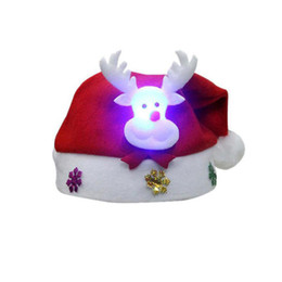 Christmas snowman ornaments online shopping - 2pc Kids LED Christmas Hat Santa Claus Reindeer Snowman Xmas Gifts Cap Santa Hat Christmas Hats Storage YS