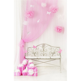 Paper Photography Backdrops UK - Baby Girls Birthday Party Photography Backdrop Printed Pink Curtain Paper Butterfly Flowers Bench Gift Boxes Indoor Kids Photo Background
