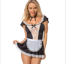 Wholesale sexy nightclub games for sale - Group buy Western autumn Halloween game role playing maid sexy pure color temptation nightclub performance stage outfit three pieces