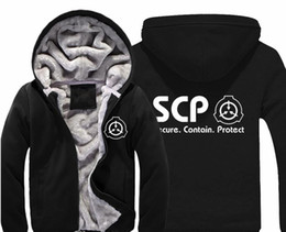 winter warm hoodie zip up NZ - SCP Secure Contain Protect Hoodie Men's Casual Winter Jacket Coat Warm Thicken Fleece Zip Up Sweatshirts For Men And Women