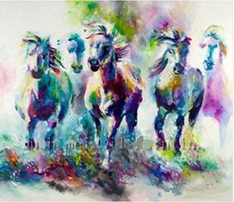 $enCountryForm.capitalKeyWord NZ - Hot Colorful Abstract Horses Hand Painted Modern Home Deco Abstract Animal Wall Art Oil Painting On Canvas.Multi sizes Frame Options al-Dafe
