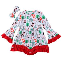 Years girls dressing stYle online shopping - Girls Christmas Dress T Cartoon Printed Deers Flowers Santa Claus Notre Dame New Year Gift Dresses Long Sleeve Pagoda Sleeve Headband