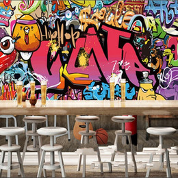 Wall stickers tile online shopping - Large Letter Graffiti Wallpaper Bar KTV Retro Background Nonwoven Fabric Personality Mural Fashion Restaurant Nostalgia Wall Sticker yy Ww