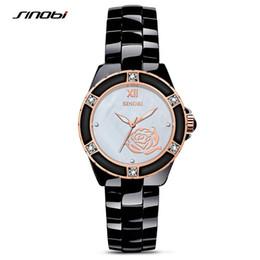 4d799a0bcf SINOBI 2017 Marca de Lujo de Las Señoras de La Vendimia de Oro Relojes de  pulsera de Cuarzo Mujer Cerámica Pulsera de Moda Reloj de Regalo G02