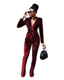 brown velvet trousers Australia - High Street Winter Velvet Suit Womens Tracksuits Two Piece Sets Long Sleeve Turn Down Collared Jacket Tops +Long Pants Ladies Trouser Suits