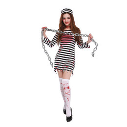 Halloween Horror Zombie Blood Disfraces Femenino Prisionero Cosplay Ghost Festival Night Club Mujeres Criminal Party Dress