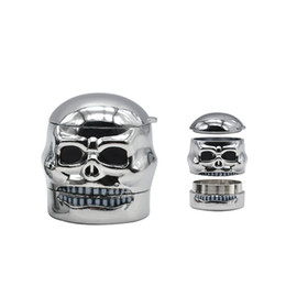 skull metal grinder NZ - 3 layers metal tobacco herb cigarette skull shape zinc alloy grinder with display box for smoking pipe new style hot