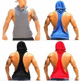 $enCountryForm.capitalKeyWord NZ - Cotton Stringer Gym Fitness Hoodies Sleeveless Gym Sport Undershirt For Men Work out Tank Tops Shirt Blank Bodybuilding Equipment MY9022