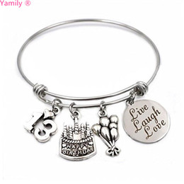 Birthday Gifts Happy Stainless Steel Expandable Bangle 13th Sweet 16 18th 21st 30th 40th 50th 60th For Her Gift