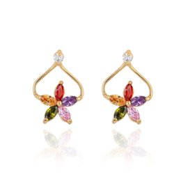 $enCountryForm.capitalKeyWord NZ - 18K Yellow Gold Plated White Multicolor Cubic Zircon CZ Five Petals Flowers Piercing Stud Earrings Fashion Womens Jewelry Gift