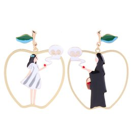 2018 Fairy Tales Cartoon Snow White Black Queen Poison Apple Asymmetric Drop Earrings For Women Funny Big Apple Earring Furniture