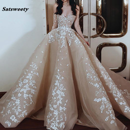 make pearl embroidery designs images NZ - Gorgeous Champagne Appliques Puffy Evening Dress Custom Made New Design Women Formal Maxi Gown for Celebrity Red Carpet Dress