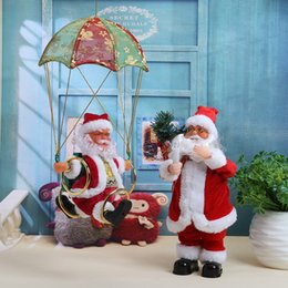Best Gift For Xmas Australia - 1 pc wholesale Santa Claus Christmas Decaration Electric Santa Claus Plush Doll Parachute Xmas Tree Decor Best Gift for Children AEI-287