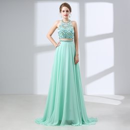 7653fb3a0 2018 Two Pieces Long Evening Dress Chiffon Beaded Vintage Prom Gowns  Vestido De Festa Evening Gown 66439
