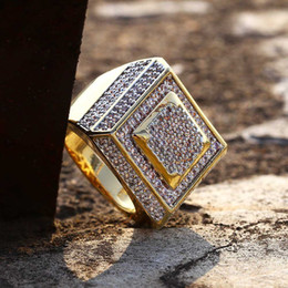 EngagEmEnt gold rings for man online shopping - men ring vintage hip hop jewelry Square Zircon iced out stainless steel ring High grade luxury for lover wedding fashion Jewelry