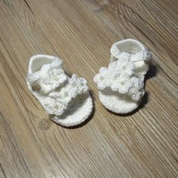 Toddler Crochet Australia - -Free Shipping Crochet Baby Shoes, Baby girl White Flowers Flip Flops, Baby Toddler shoes